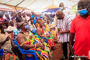 Vice-President Dr Mahamudu Bawumia greeting one of the chiefs