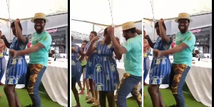 Abeiku Santana dancing with SHS girls