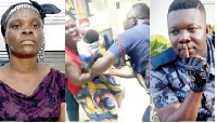 Ms Osafo [L] being assaulted by Skalla [R] as captured in the viral video