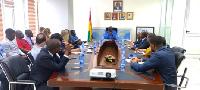 Minister for Aviation, Mr. Joseph Kofi Adda (m) having a discussion with the airline representatives