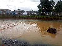 Floods covered gutters and bridges in most areas in Cape Coast