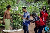 Behind the scene of a movie produced in Ghana