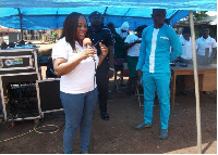 DCE of Tain, Charity Akua Foriwaa Dwommoh beneficiaries ahead of the exercise