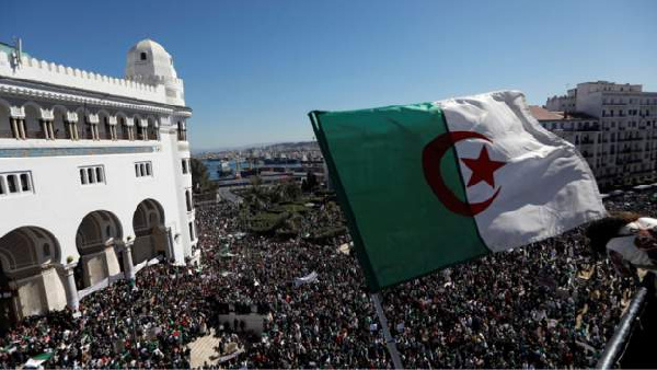 Millions of people protesting against President Bouteflika