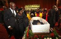 Matilda Amissah-Arthur burst out while reading her tribute to her late husband