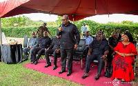 Former President John Mahama durig his visit to the home of the late Francis Vib-Sanziri