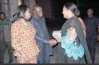 Ibrahim Mohammed Awal, Minister of Business Dev., welcoming Rebecca Akufo-Addo to the  function