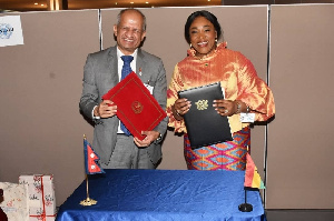 Shirley Ayorkor Botchwey and her Nepalese counterpart, Pradeep Kumar Gyawali