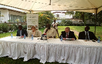Former President Kufuor(middle) speaking at the Global Panel on Agriculture