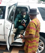 Nana Yaw Amponsah arrives at Sports Hotel in Kumasi ahead of unveiling
