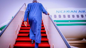 Buhari as he dey leave Abuja on some foreign trip