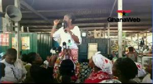 PPP running mate  Bridgitte Dzogbenuku addressing traders at the Makola market in Accra