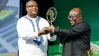Thierry Hot, Founder of Rebranding Africa Forum, with President Akufo-Addo