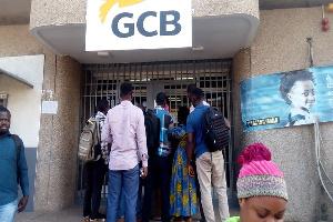 Angry customers at the Nsawam Branch of GCB bank