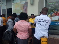Tax officials at the premises of the Accra Mall