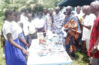 Some dignitaries viewing items made from plastic waste