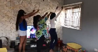 Yvonne Nelson and friends dancing to Akwaaba