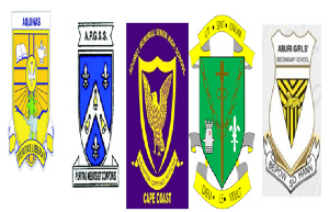 Crests of Aquinas, Porter Girls, Aggrey, St. Louis and Aburi Girls
