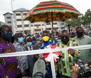 President Nana Addo Dankwa Akufo-Addo cutting a sod for a project