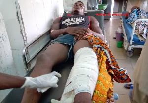 The victim, John Essandoh receiving medical treatment