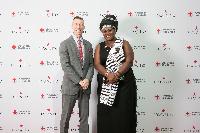 Catherine (right) with CEO of NY Red Cross Josh Lockwood. Photo courtesy NY Red Cross