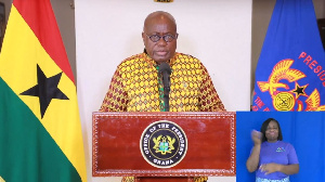 President Akufo-Addo whiles delivering his 18th address