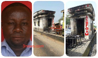 Mark Tetteh [L] is being held for arson for the burning of the Fiapre tollbooth Friday night