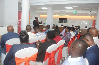 Mrs. Grace Elizabeth Anim-Yeboah, the Business Banking Director at Barclays speaking to participants