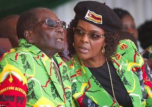 Robert Mugabe with second wife Grace Mugabe