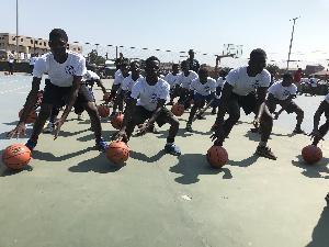Participants at the Pops Mensah-Bonsu Basketball Camp