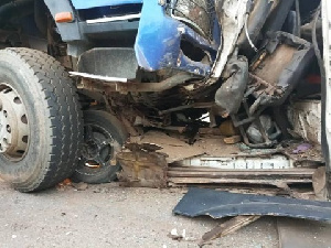 The driver and mate on-board the Kia Truck were trapped dead in their mangled vehicle