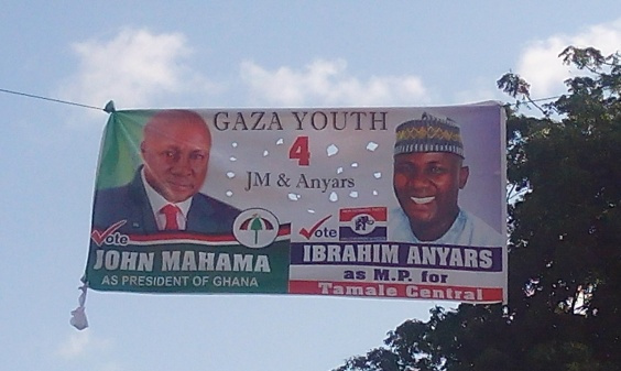 A banner of President John Mahama, and the Parliamentary nominee Ibrahim Anyass