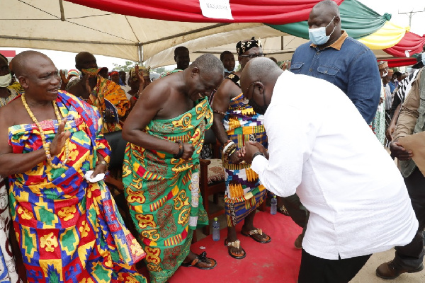 Vice President Dr Mahamudu Bawumia paying homage to the Chiefs of Adeiso