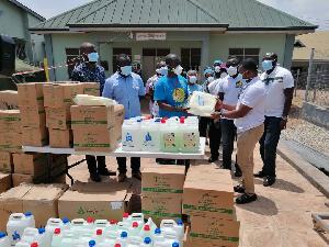 Staff of Kumasi South Regional Hospital taking receipt of the items