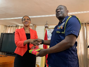 IGP David Asante Apeatu with EC Chairperson Charlotte Osei