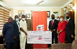 GHC500,000 was presented to the Minister for Youth and Sports