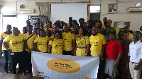 Some staff of MTN and the beneficiaries at the launch of the training programme
