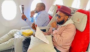 Ghanaian actor cum politician, John Dumelo (L) and Kalybos (R)