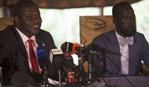 Garang Mabior (R) rejoined cabinet in March