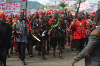 The Akyem Traditional Council lead a demonstration against the NDC in 2019