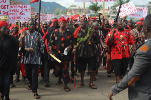 Angry chiefs & people of Akyem Abuakwa Traditional Area in demonstration