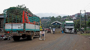 Mpondwe crossing at the Uganda- DR Congo border ( PHOTO | AFP)