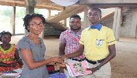 SOS Quality Education Now has donated 2,500 exercise books to the Kpone Methodist Basic School