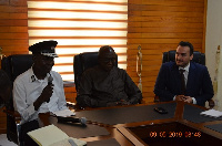Interior Minister Ambrose Dery with officials of the Ghana National Fire Service