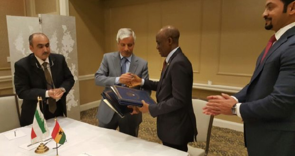 Finance Minister, Seth Terkper signs an agreement with the Kuwait Fund for Arab Economic Development