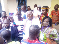 Yaw Owusu Brempong, hands-raised in the middle, acknowledging victory as NPP Candidate-elect