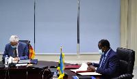 Thomas Kurz, the Ambassador of the federal republic of Germany to Rwanda and Uzziel Ndagijimana
