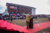 President Mahama addressing chiefs and the people of Kwamekrom