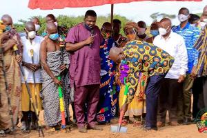 Kwaku Agyeman Manu breaking ground for the construction