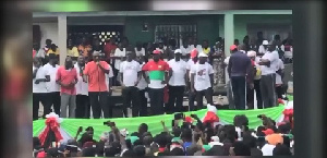 Former President John Mahama with some NDC functionaries at the Unity Walk held at Tarkwa